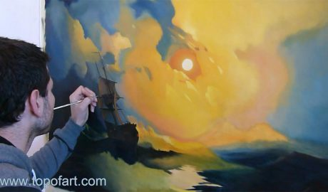 Storm on the Sea at Night by Aivazovsky - Painting Reproduction Video