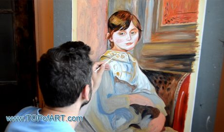 Child with Cat (Julie Manet) by Renoir - Painting Reproduction Video