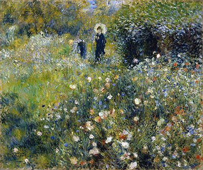 Woman with a Parasol in a Garden