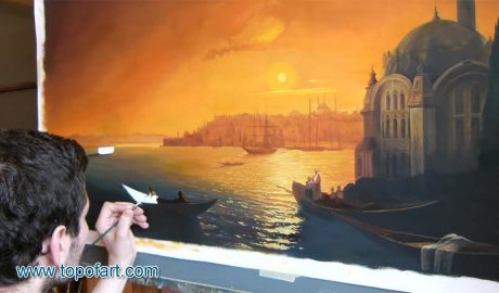 View of Constantinople by Moonlight by Aivazovsky - Painting Reproduction Video