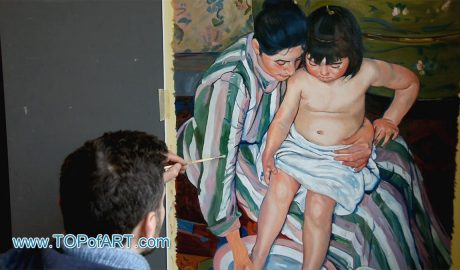 The Child's Bath by Cassatt - Painting Reproduction Video