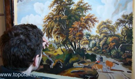 Road on the Dyke by Hobbema - Painting Reproduction Video