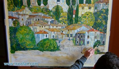 Church in Cassone (Landscape with Cypresses) by Klimt - Painting Reproduction Video