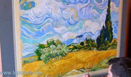 Wheat Field with Cypresses by van Gogh - Painting Reproduction Video