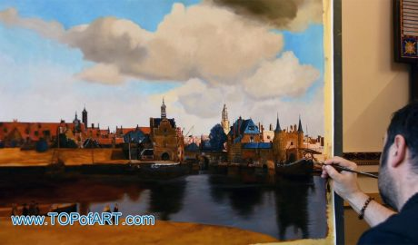 View of Delft by Vermeer - Painting Reproduction Video