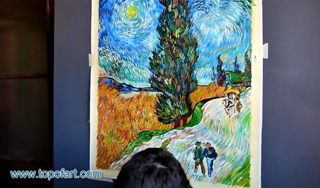 Road with Cypress and Star by van Gogh - Painting Reproduction Video
