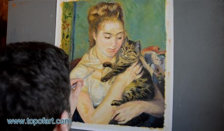 Woman with a Cat by Renoir - Painting Reproduction Video