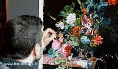 Flowers in a Silver Vase by van Aelst - Painting Reproduction Video
