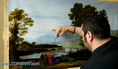 A River Landscape with Jacob and Laban and his Daughters by Lorrain - Painting Reproduction Video