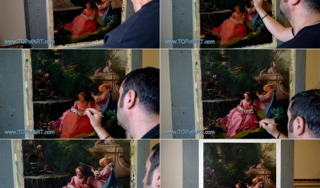 The Music Lesson by Boucher - Painting Reproduction