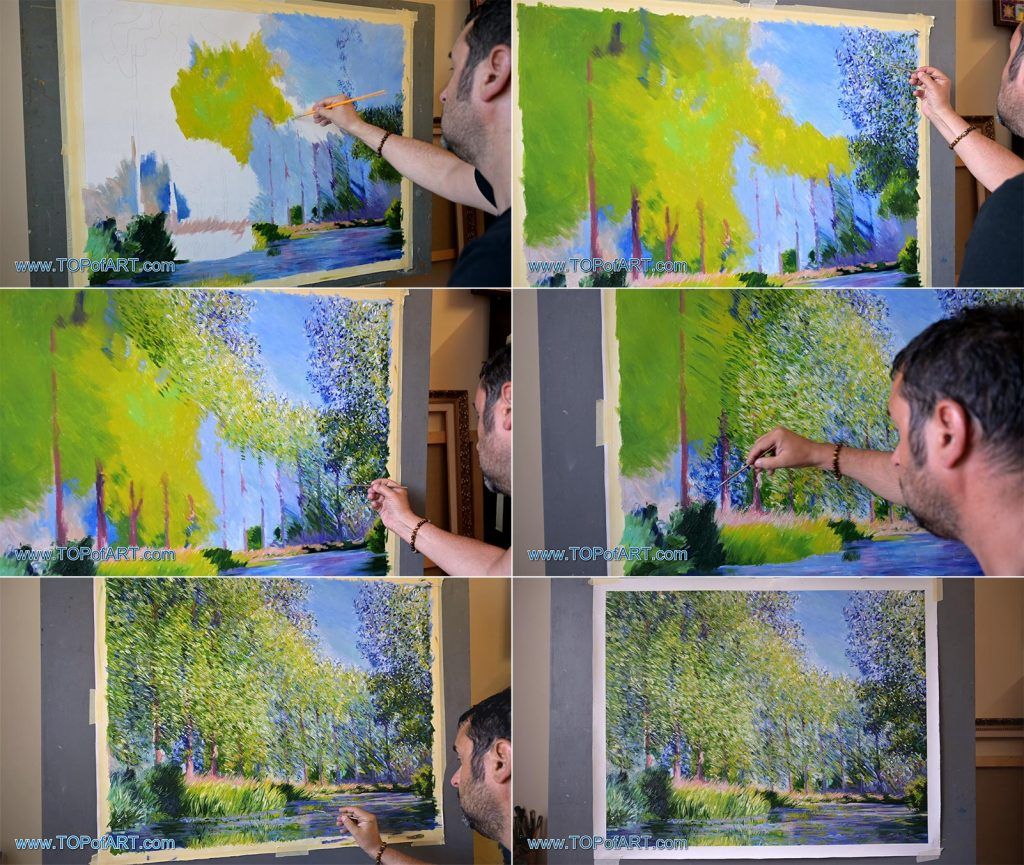 A Bend in the River Epte, Near Giverny by Monet - Painting Reproduction