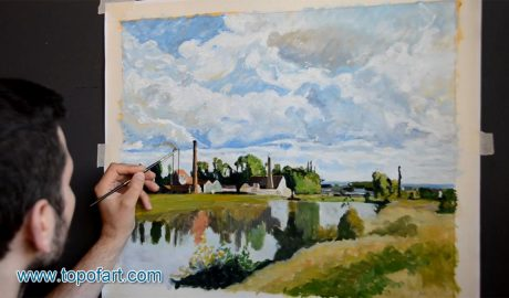 The Oise on the Outskirts of Pontoise by Pissarro - Painting Reproduction Video
