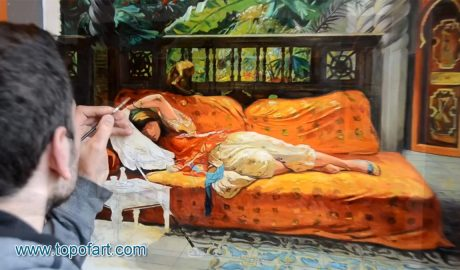 The Siesta by Bridgman - Painting Reproduction Video