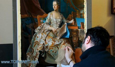 Marquise de Pompadour by Maurice de La Tour - Painting Reproduction Video