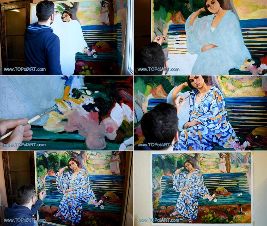 On the Green Bank, Sanary by Lebasque - Painting Reproduction