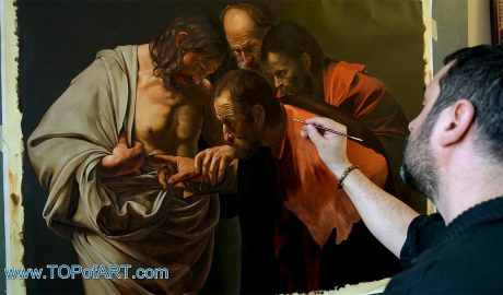 The Incredulity of Saint Thomas by Caravaggio - Painting Reproduction Video