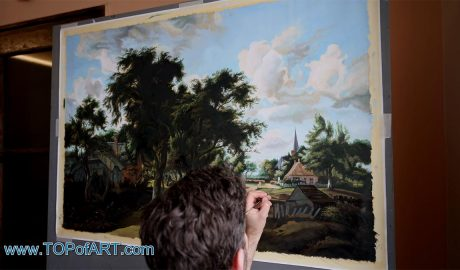Entrance to a Village by Hobbema - Painting Reproduction Video
