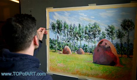 Haystacks at Giverny by Monet - Painting Reproduction Video