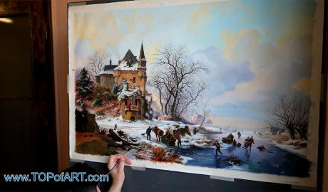 Winter Landscape with Skaters in front of a Castle by Kruseman - Painting Reproduction Video
